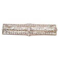 Exquisite Antique Platinum Bar Pin with Diamond - a beauty!