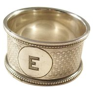 """Edwardian Sterling Silver Napkin Ring - Initial """"E"""" - 1913"""