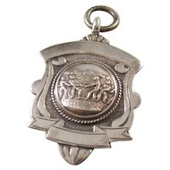 Unusual Sterling Silver Shield Watch Fob - Award for Tug of War Contest - 1932