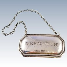 Sterling Silver Decanter Label - VERMOUTH - Birmingham (UK) hallmark