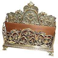 Gorgeous English Antique Brass Letter Rack