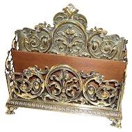 Gorgeous English Antique Brass Letter Rack