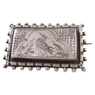 Interesting Victorian Aesthetic Sterling Silver Brooch featuring a Heron