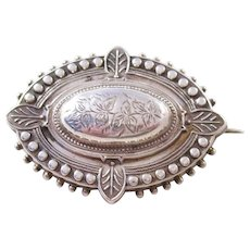 Victorian Aesthetic era Sterling Silver Brooch - 1890