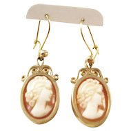 Fantastic Pair of Vintage Carved Cameo and 9ct Gold Dangle Earrings - Beautiful!