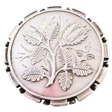 Victorian Sterling Silver Aesthetic Brooch with a Thistle - Emblem of Scotland - 1884