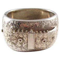 Fantastic Victorian era Sterling Silver Bangle Bracelet - Buckle Design - a stunner!