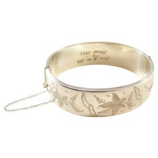 Vintage Sterling Silver Bangle Bracelet - Aesthetic Style