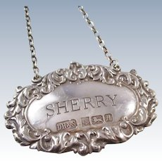 Lovely Sterling Silver SHERRY liquor decanter label