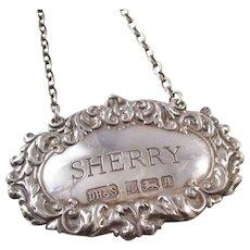 Lovely Sterling Silver SHERRY liquor decanter label