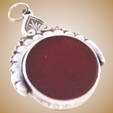Victorian Sterling Silver, Carnelian, and Bloodstone Swivel Fob - 1890