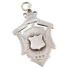 Victorian Sterling Silver Shield Watch Fob - 1897