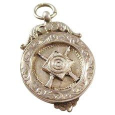 Sterling Silver Watch Fob - Shooting Award - English, 1921