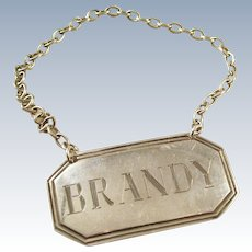 Vintage Sterling Silver Decanter Label - BRANDY - English hallmarks