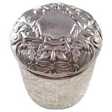 Antique Edwardian Dresser Jar - Sterling Lid - Green Man - 1903
