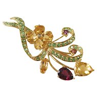 Beautiful Vintage 10kt gold Floral Brooch with Semi-Precious Stones