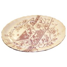 Lovely Aesthetic Brown Transfer ware Platter - English, 1888