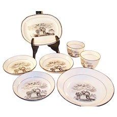 Rare Regency 1817 BW Transferware Dish Set - Mourning - Death of Princess Charlotte - 6 pieces