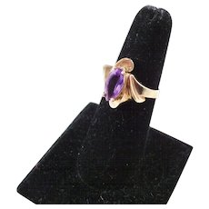 Pretty Vintage Amethyst Ring - 10kt gold - Size 7.5