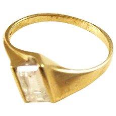 Vintage Modernist 14kt Gold Ring with CZ - size 9