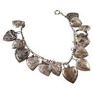 Vintage Sterling Puffy Heart Bracelet - 15 Charms - Estate find!