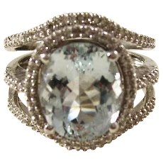 Stunning Vintage 14kt White Gold Aquamarine and Diamond Cocktail Ring - Size 7