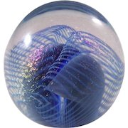 Robert Eickholt Iridescent Signed Glass Paperweight - dated 1988