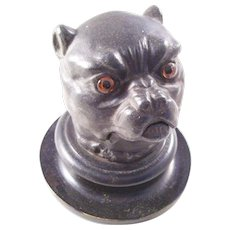 Fantastic Victorian Figural Bulldog Inkwell with Glass Eyes