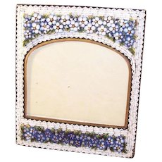 Fabulous Antique Micro Mosaic Photo Frame - Victorian - Pansies!