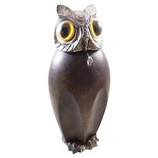 Whimsical Vintage Hoot Owl Figural Pocket Watch Holder - English