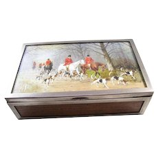 Handsome Vintage Silver Plate Cigar or Cigarette Box - English, Fox Hunt Scene