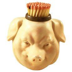 Victorian Figural Match Holder with Striker - Bisque Pig