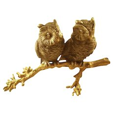 Whimsical Bronze Inkwell - Two Hoot Owls on Branch - Victorian
