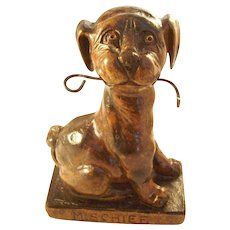 Charming Figural Pocket Watch Holder - Mischievous Dog
