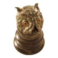 Wonderful Figural Owl Inkwell - English, ca. 1880