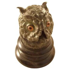 Wonderful Figural Owl Inkwell - English, ca. 1880