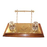 Handsome Vintage Double Brass Inkwell with Multiple Pen Rests - Masonic