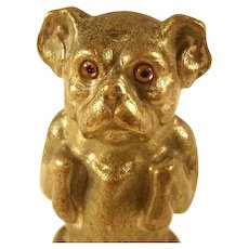 Incredible Figural Victorian Tape Measure - Dog with Glass Eyes