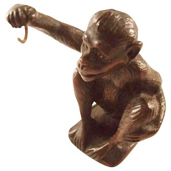 Fabulous Antique Bronze Cheeky Monkey Victorian Pocket Watch Stand