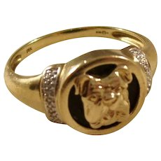 Fantastic Vintage Gentleman's Ring - Bull Dog, 9 carat gold