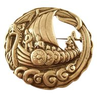 Vintage Sterling Silver Brooch - Viking Ship - English