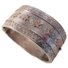 Fabulous Antique Victorian Sterling Bangle Bracelet - dated 1881