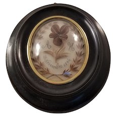 Antique French Napoleon III Hair Work Mourning Piece under Glass - dated 1894