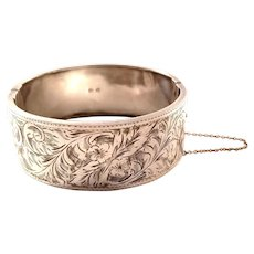 Antique Victorian Sterling Silver Bangle Bracelet - 1897
