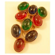 Vintage Dress Clip with Luscious Colorful Glass Stones
