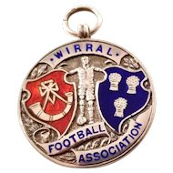 Vintage English Sterling Silver Fob Charm - Wirral Football Association 1940