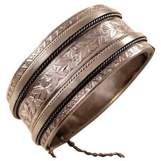 Antique Victorian Aesthetic Sterling Silver Bangle Bracelet ca. 1880