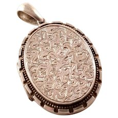 Antique Sterling Silver Victorian Aesthetic Locket - ca 1880
