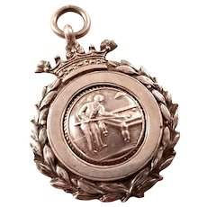 Vintage Sterling Watch Fob - Award for Pool or Snooker, 1928