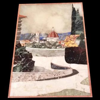 Vintage Framed PIetra Dura Hard Stone Mosaic - Gina Contini